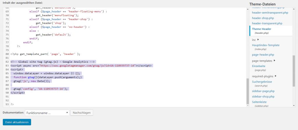 Google Analytics Tracking Code in WordPress Header einfügen